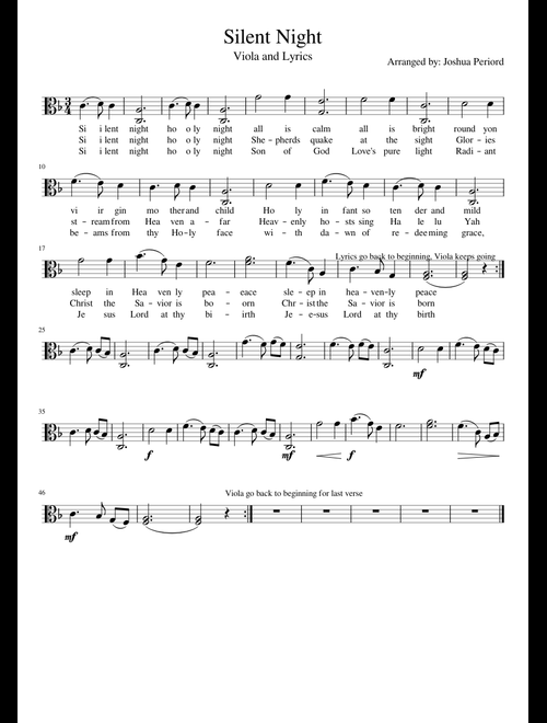 image about Silent Night Lyrics Printable known as Peaceful Evening Viola and Lyrics sheet audio for Viola down load