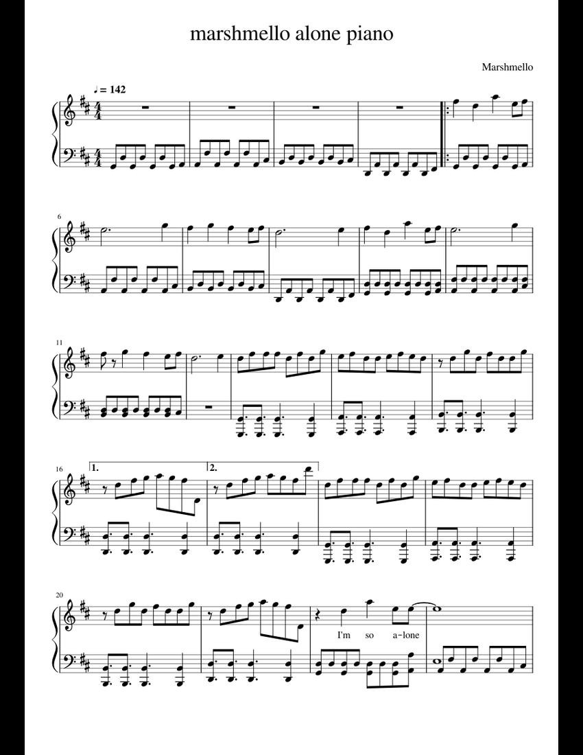 Marshmello alone piano sheet music for Piano download free