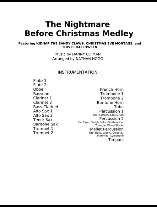 Nightmare Before Christmas In French.The Nightmare Before Christmas Medley For Concert Band Sheet