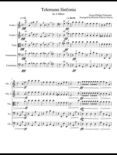 Telemann Sinfonia sheet music for Violin, Viola, Cello