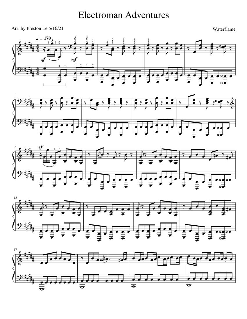 Electroman Adventures full (Piano Solo) sheet music for Piano download free in PDF or MIDI
