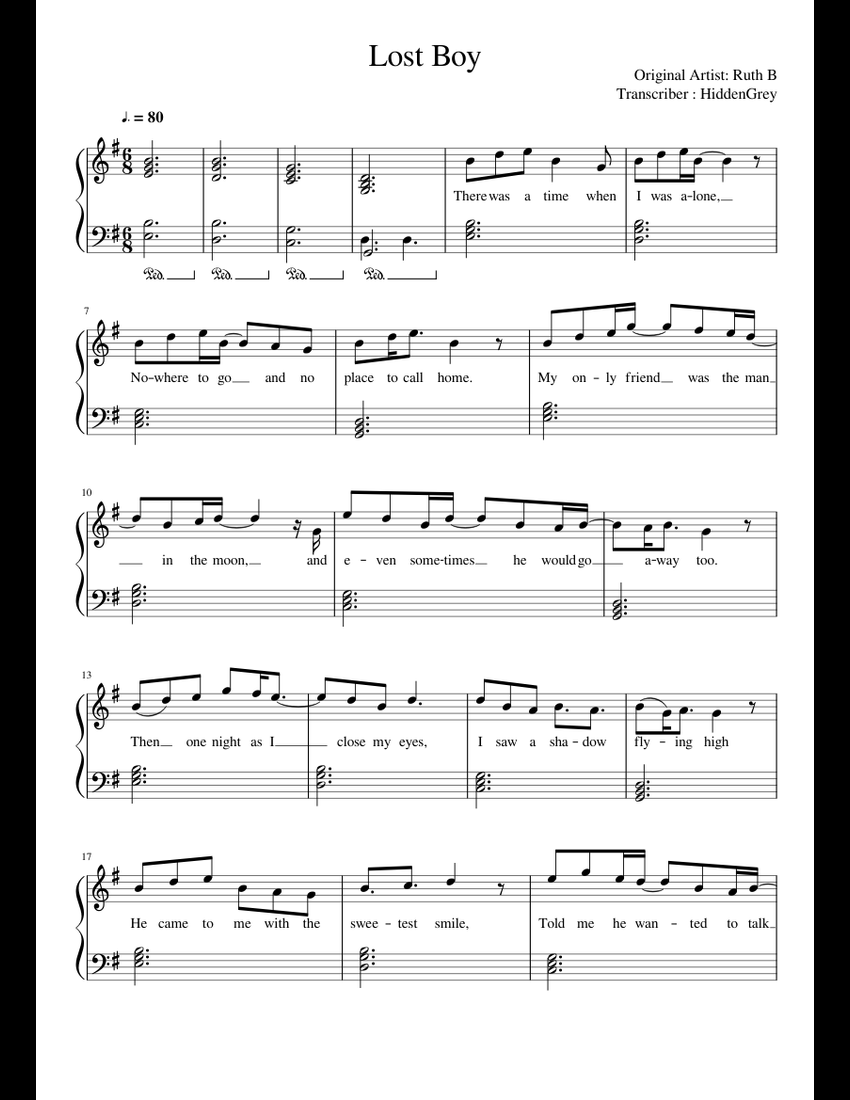 photo relating to Lost Boy Piano Sheet Music Free Printable identified as Misplaced Boy - Ruth B sheet audio for Piano obtain totally free inside PDF
