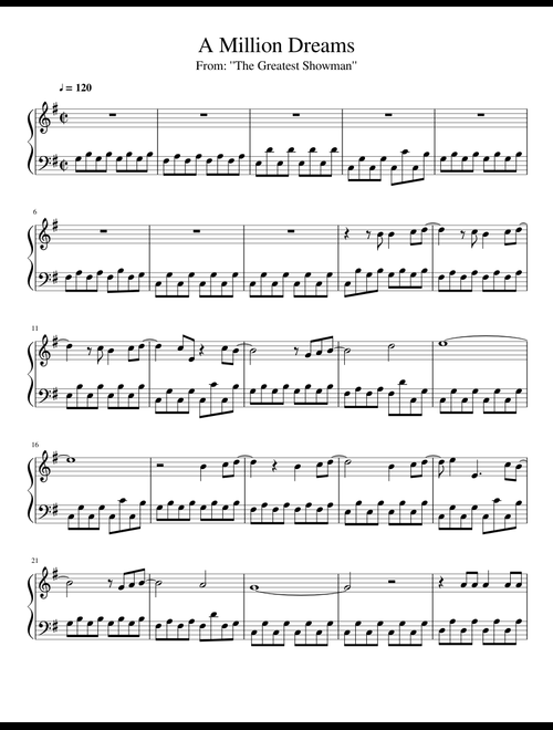 The Greatest Showman — A Million Dreams Piano Sheets — Free