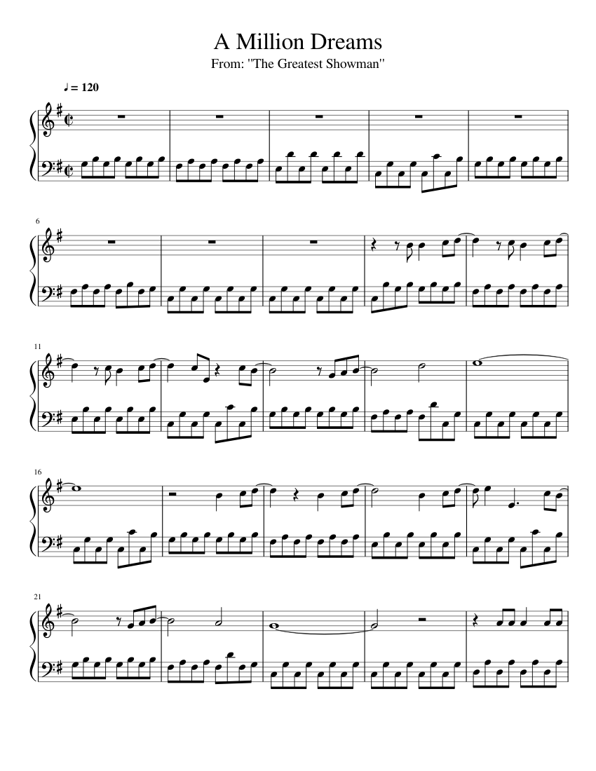 A Million Dreams sheet music for Piano download free in PDF or MIDI