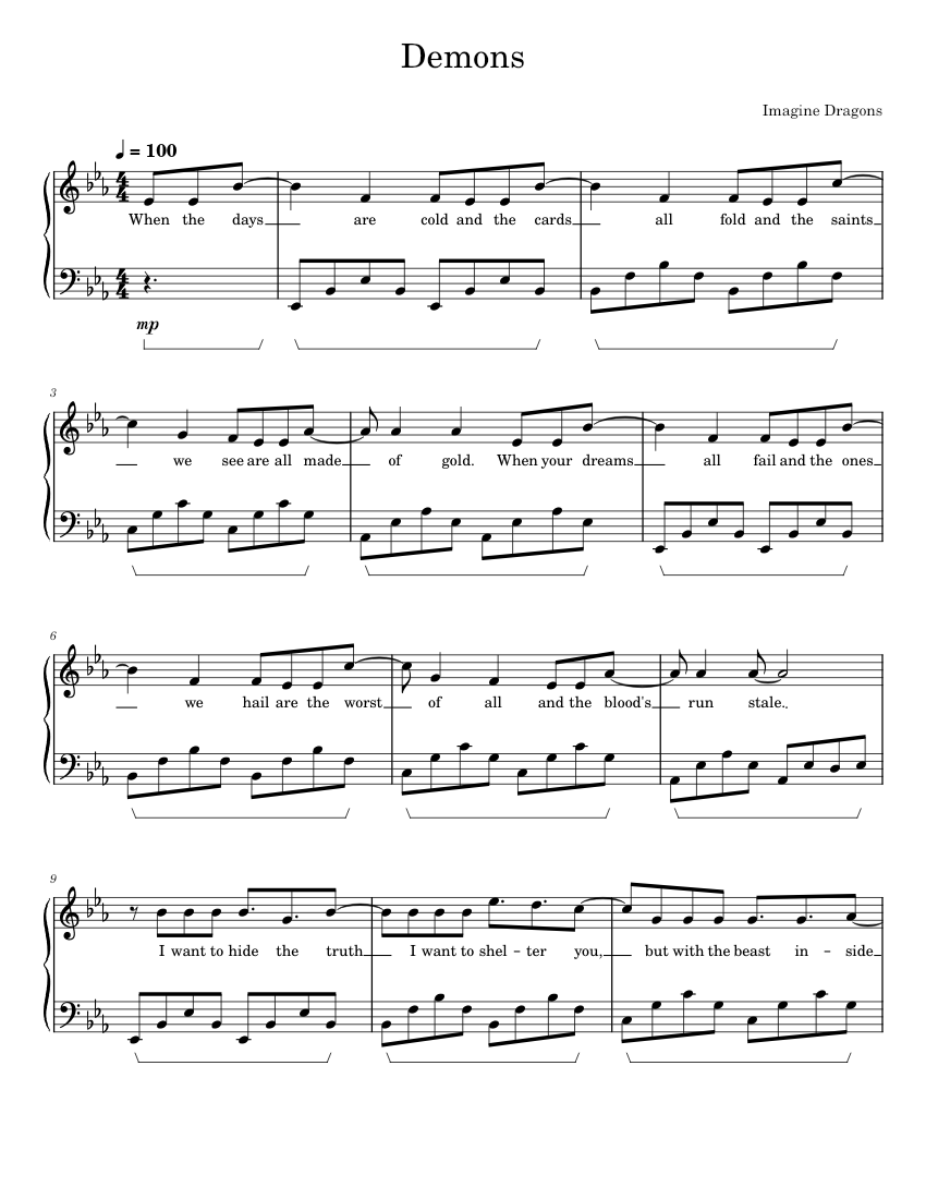 Demons - Imagine Dragons Sheet music for Piano | Download ...