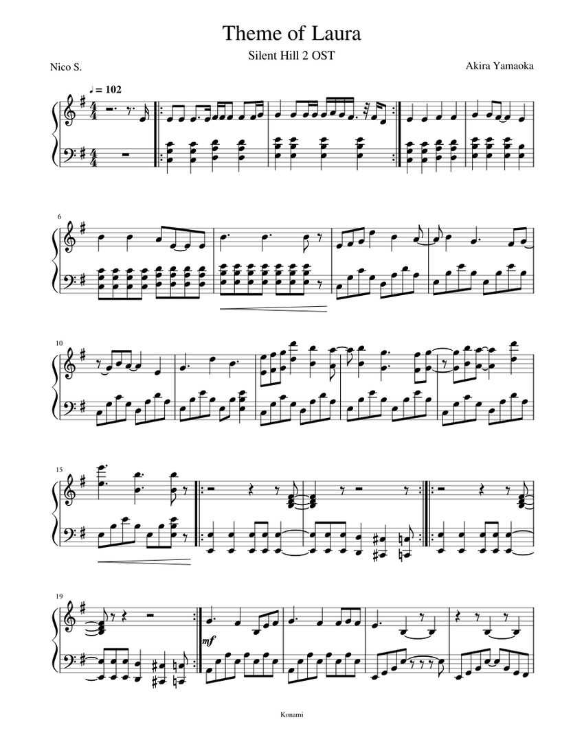 Theme Of Laura Silent Hill 2 Sheet Music For Piano Solo