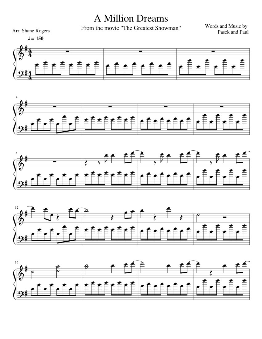 A Million Dreams sheet music for Piano download free in PDF