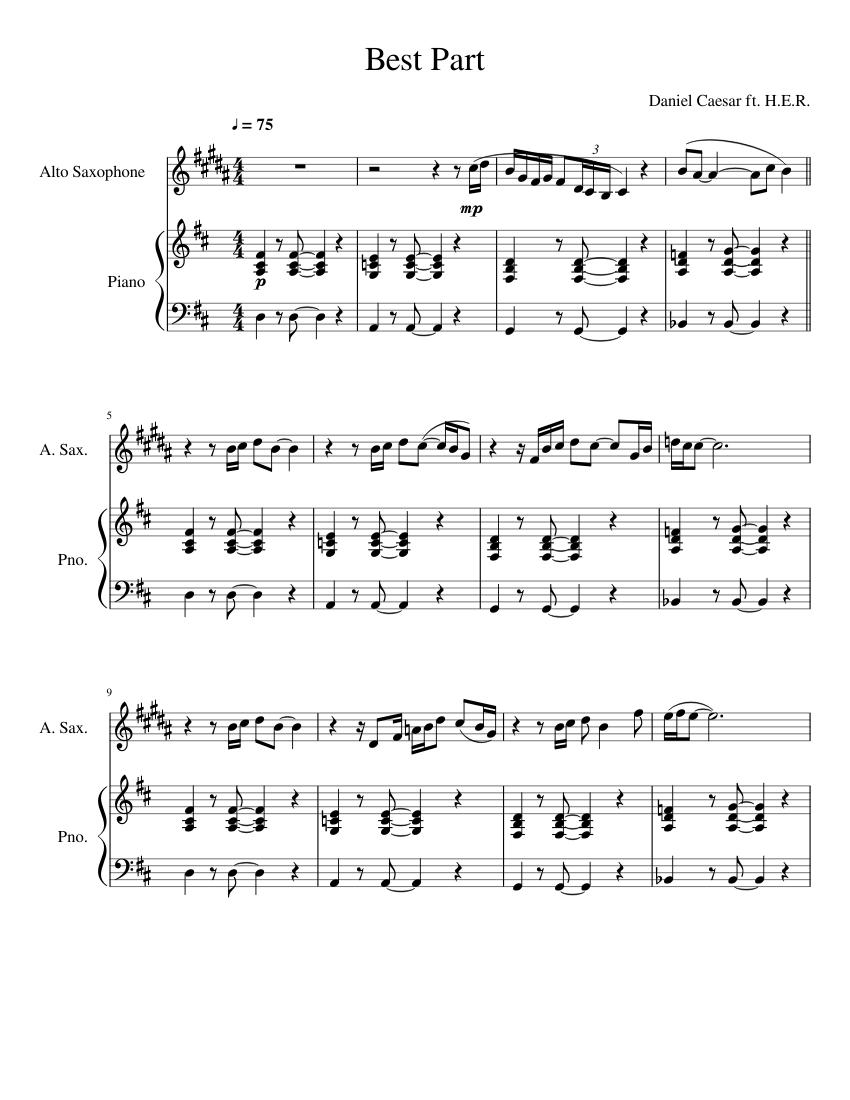 Best Part Eb Sax Sheet Music For Piano Saxophone Alto Solo Musescore Com