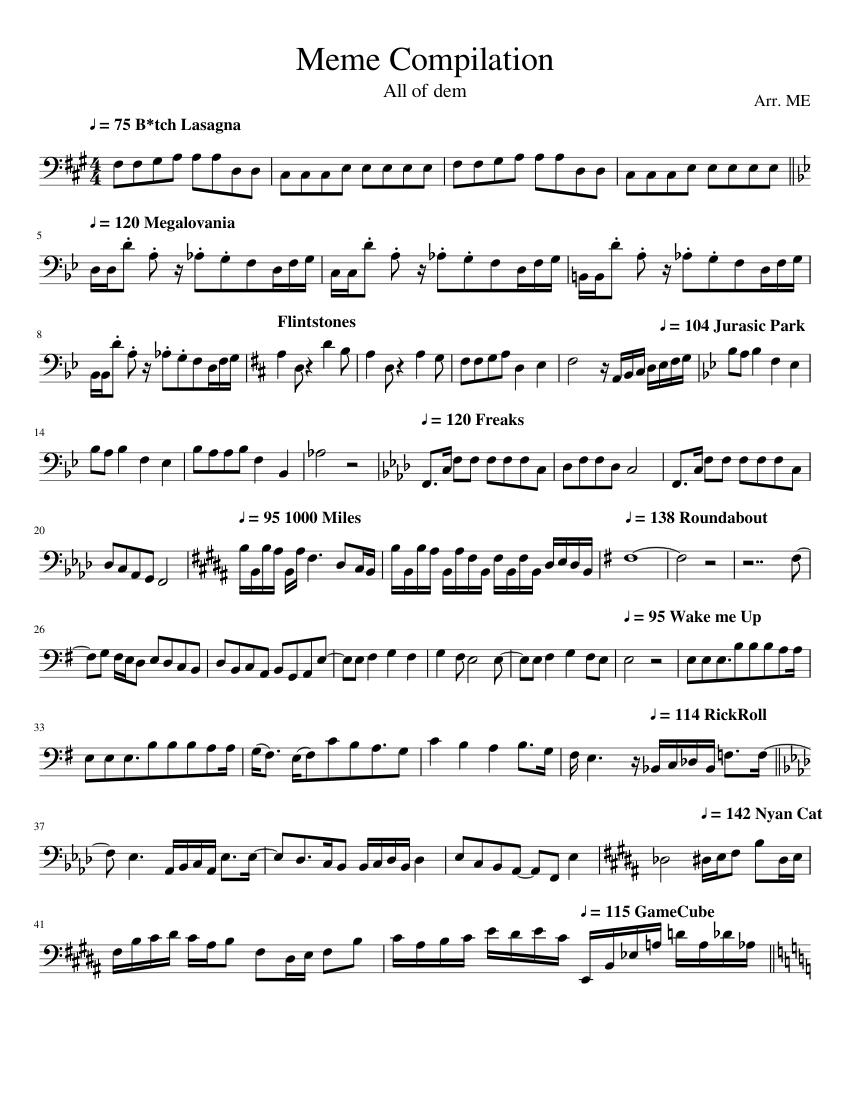 Meme Compilation Sheet music for Trombone (Solo ...