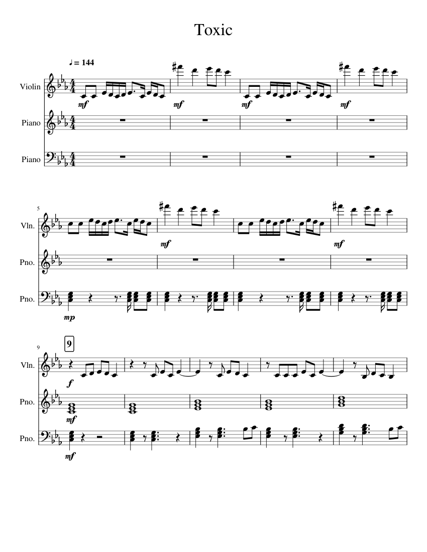 Toxic Britney Spears Sheet Music For Piano Violin Mixed Trio Musescore Com