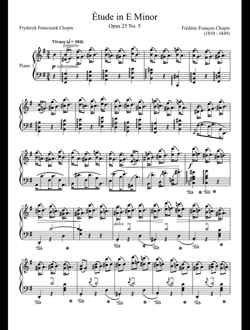 Étude Opus 25 No  5 in E Minor sheet music download free in