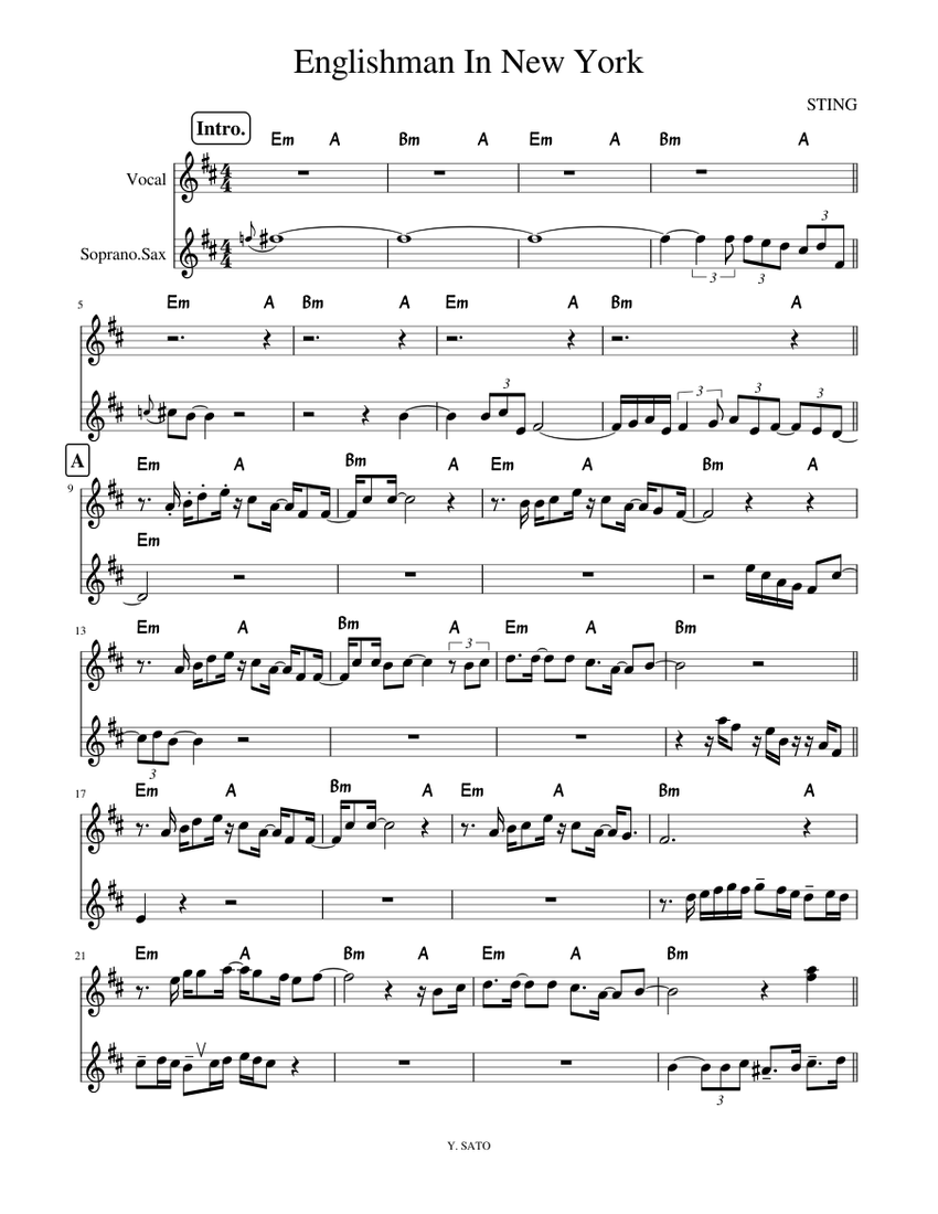 englishman in new york sheet music for voice  download
