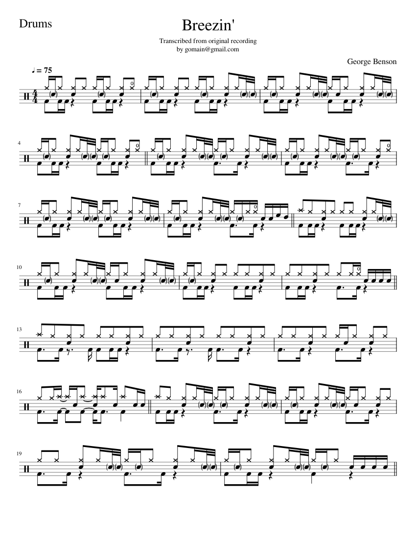 Breezin' - George Benson Sheet music for Drum Group (Solo ...