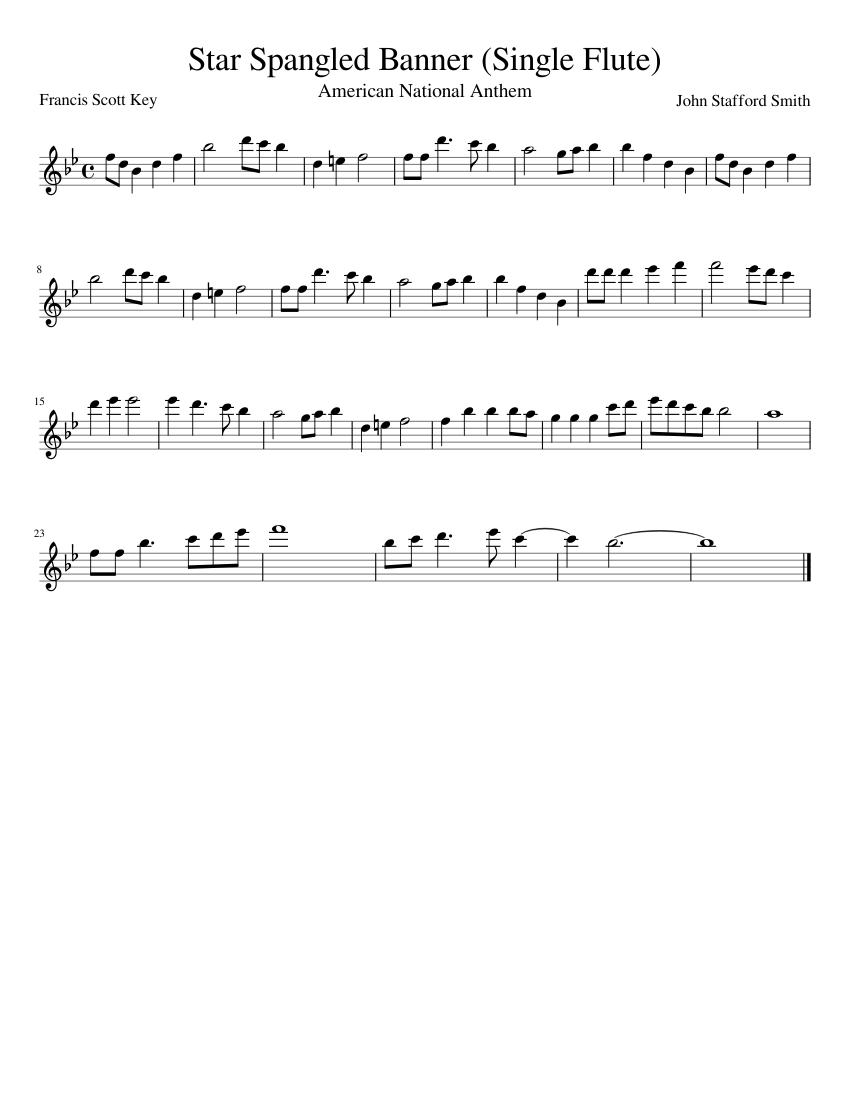 Star Spangled Banner For Single C Instrument Flute Piano Etc Sheet Music For Piano Solo Musescore Com