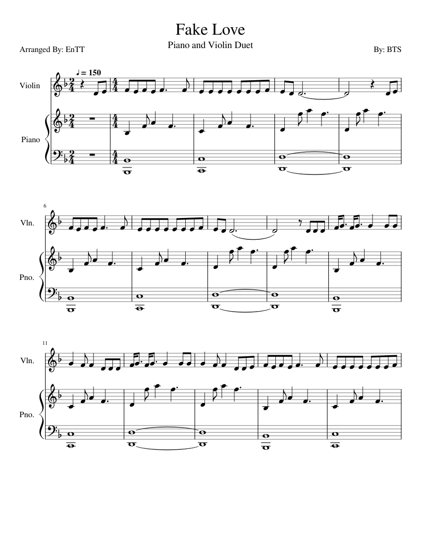 Bts Fake Love Sheet Music For Violin Piano Download Free In
