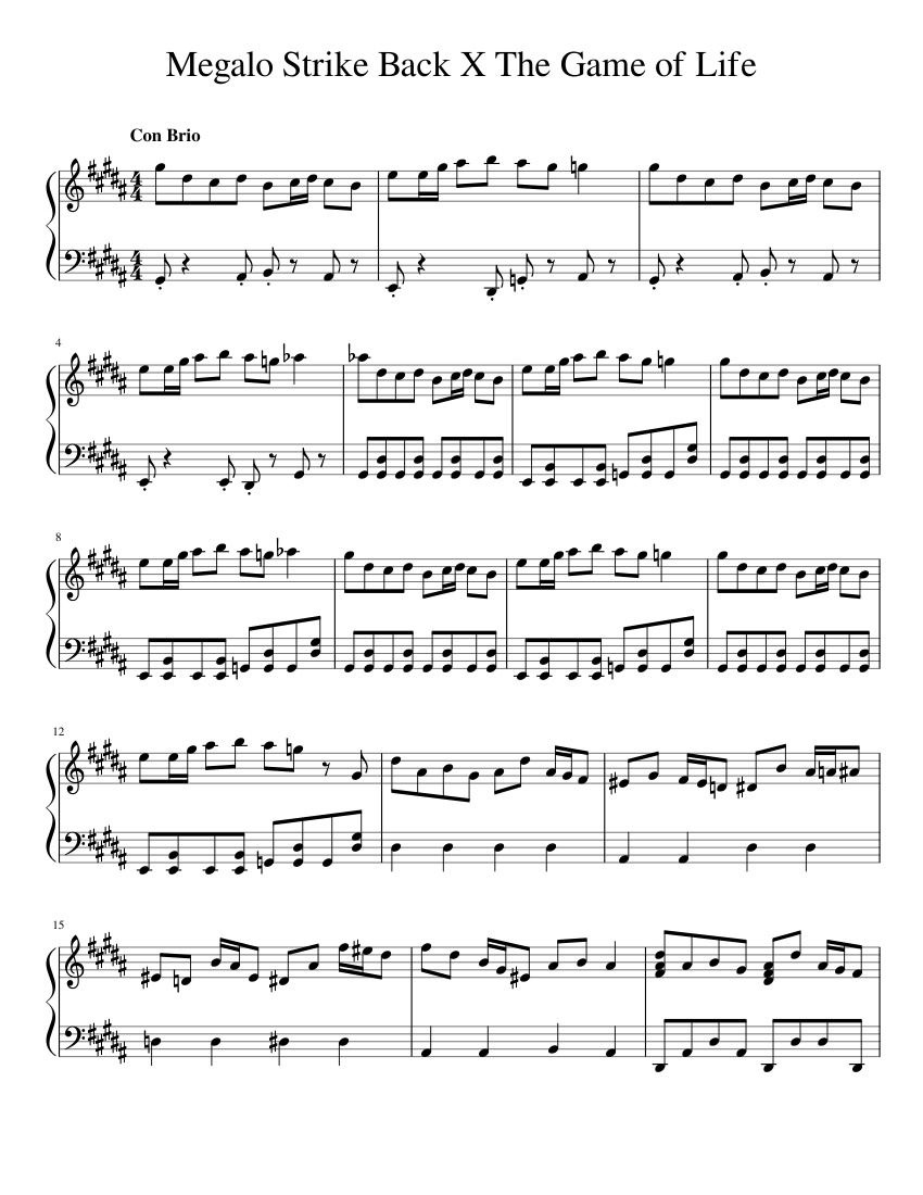 Megalo Strike Back X The Game of Life Sheet music for