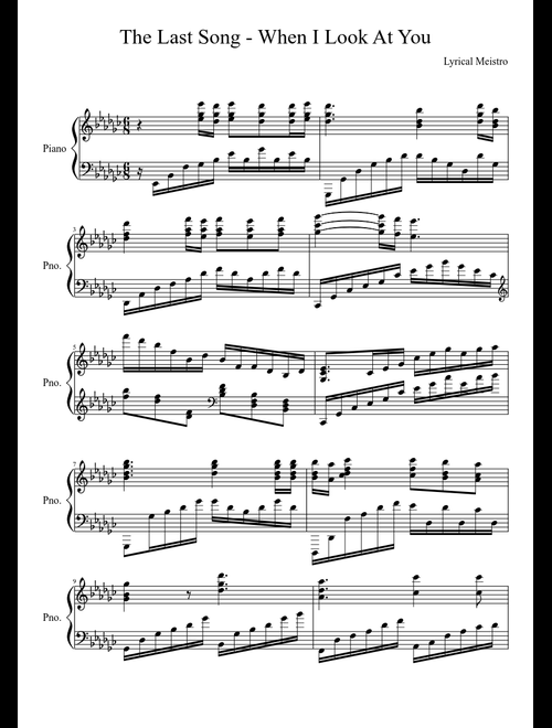The last song - when i look at you classic sheet music