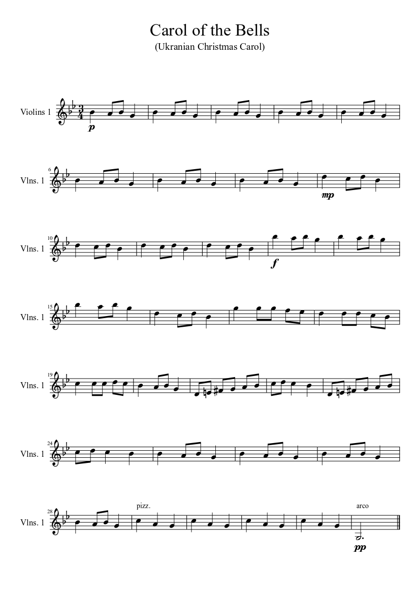 image relating to Carol of the Bells Free Printable Sheet Music known as Carol of the Bells (Violin 1) sheet tunes obtain no cost in just
