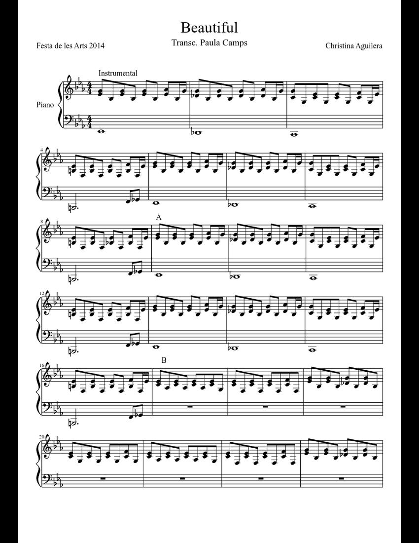 Beautiful Christina Aguilera Piano Sheet Music Download Free In