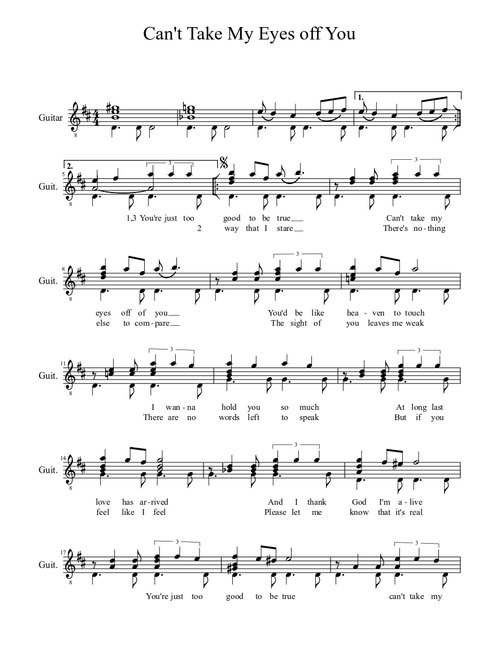 Can T Take My Eyes Off You Sheet Music For Guitar Solo Musescore Com
