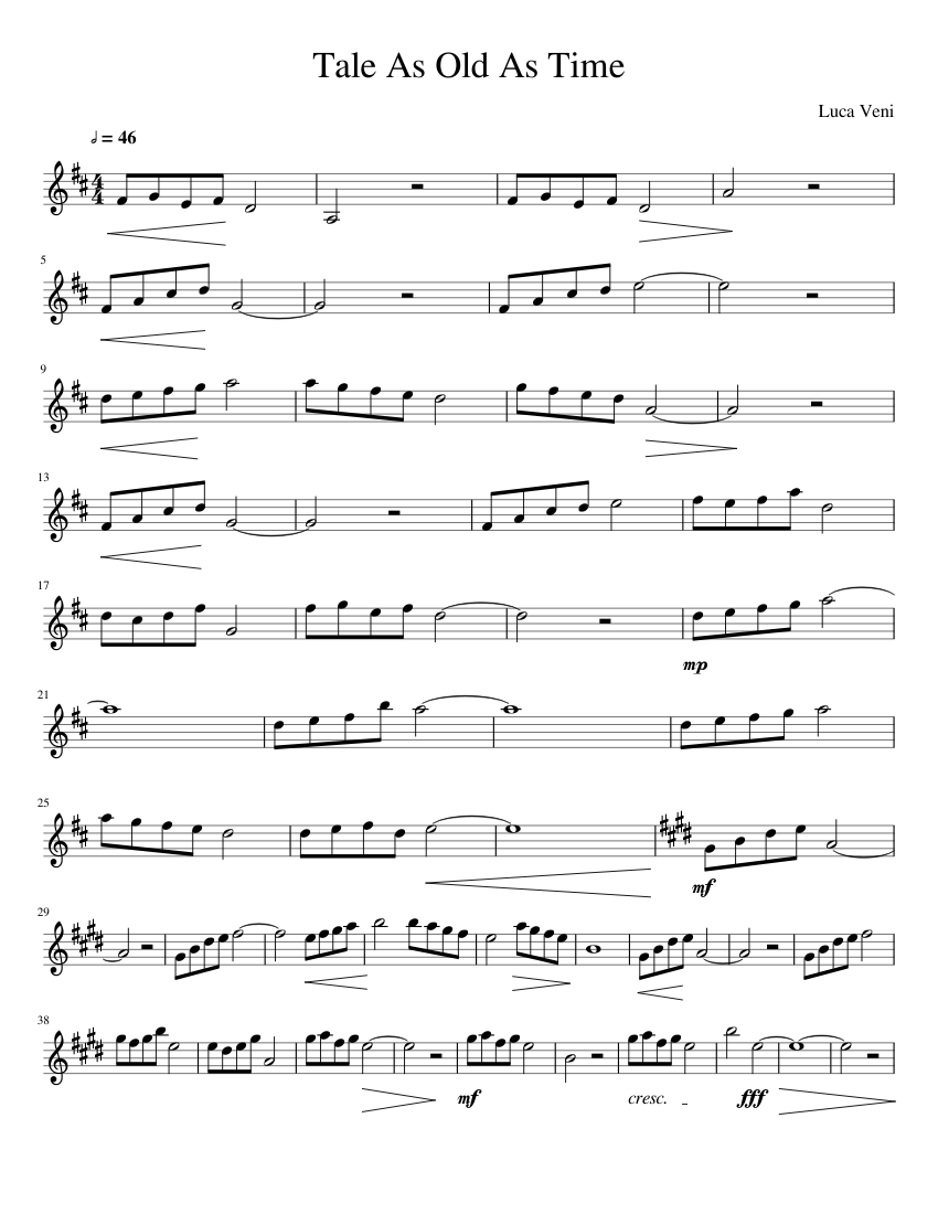 graphic regarding Beauty and the Beast Piano Sheet Music Free Printable titled Madison : Story as outdated as year sheet tunes