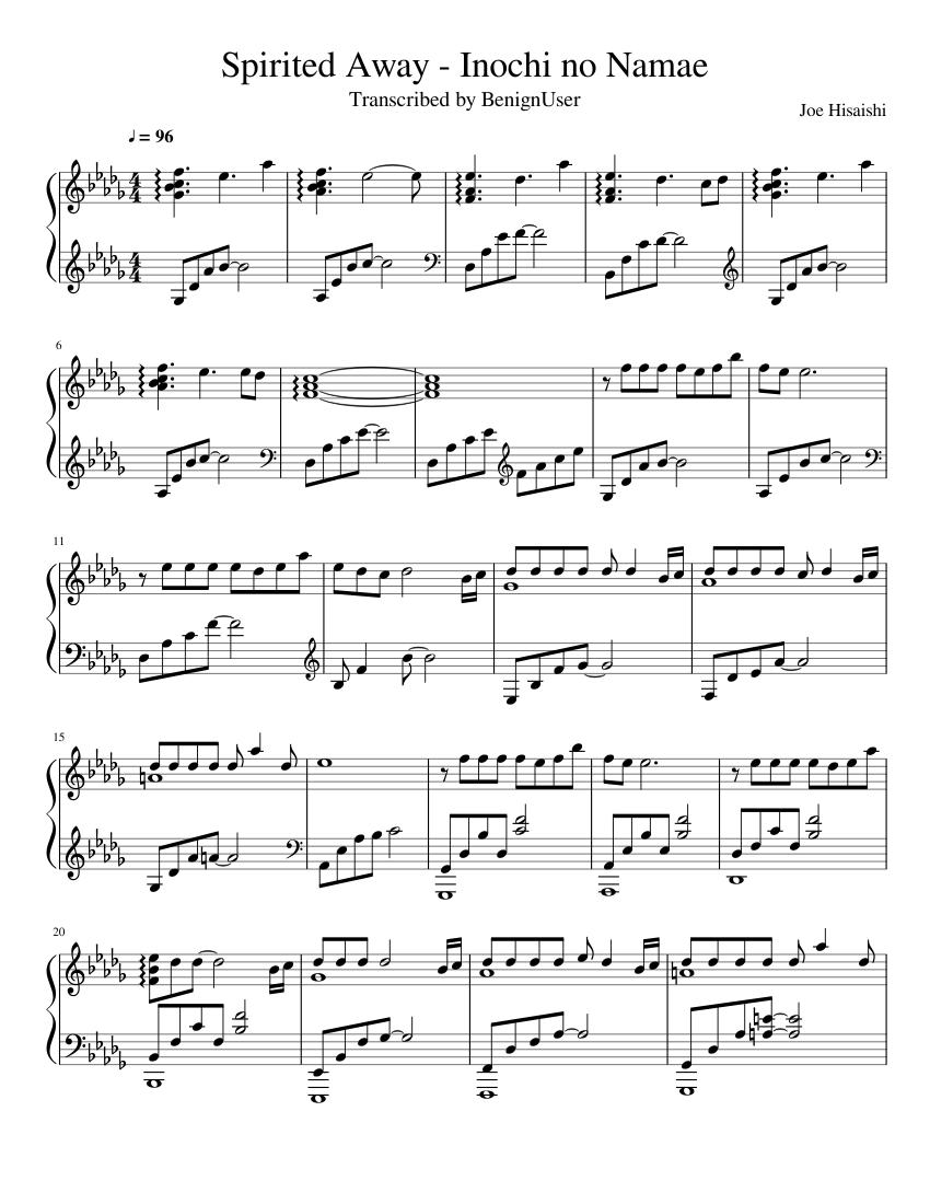 Spirited Away Inochi No Namae Sheet Music For Piano Solo Musescore Com