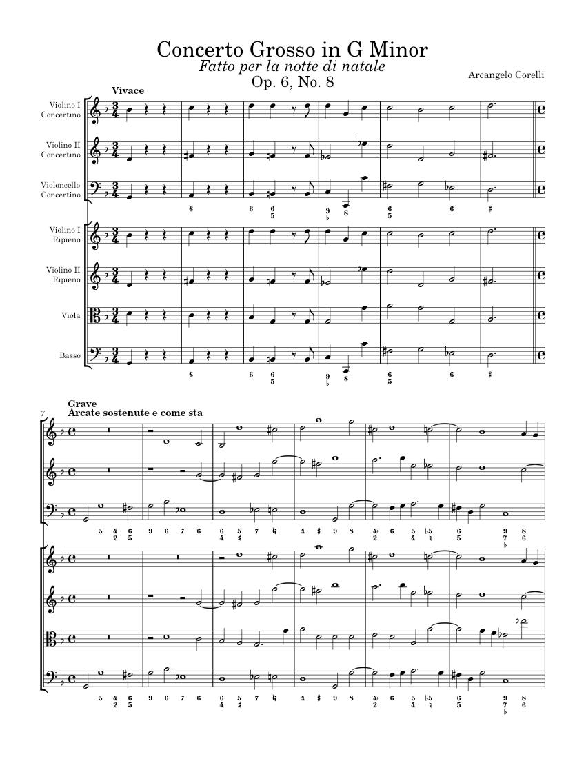 Concerto Grosso in G Minor, Op. 6, No. 8, Christmas Concerto - Violin 2