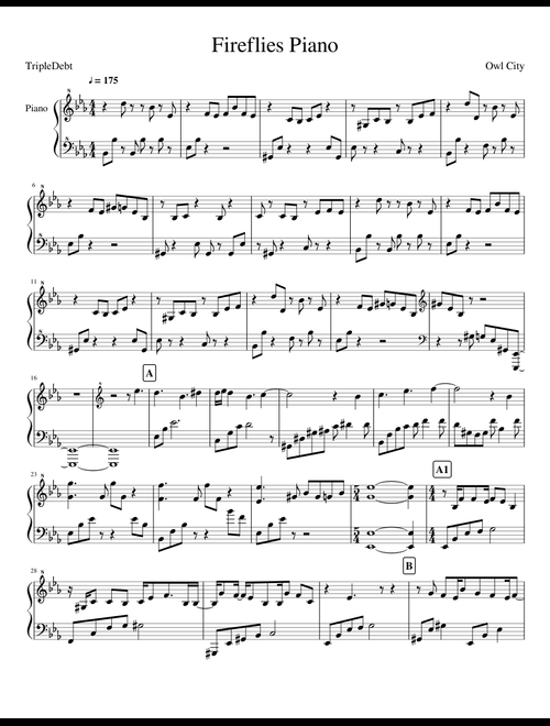 Fireflies - Owl City sheet music for Piano download free in