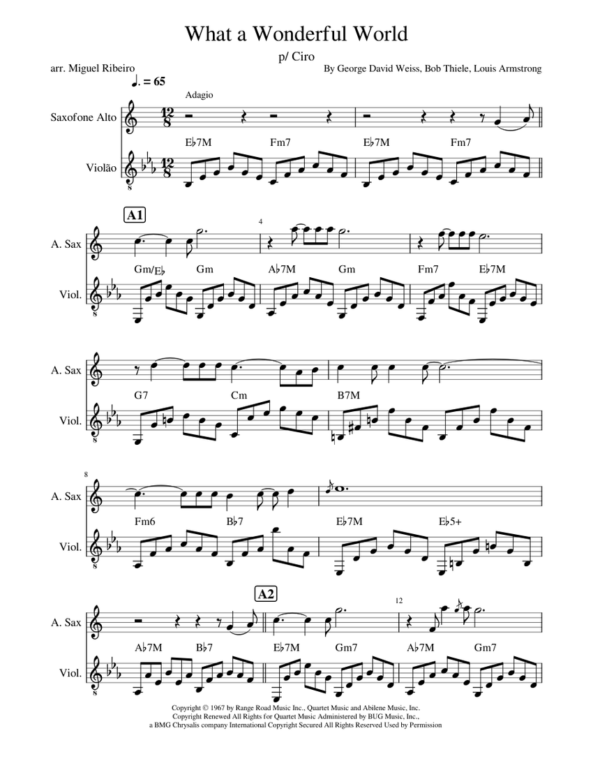 What a Wonderful World Sheet music for Alto Saxophone, Guitar   Download free in PDF or MIDI ...