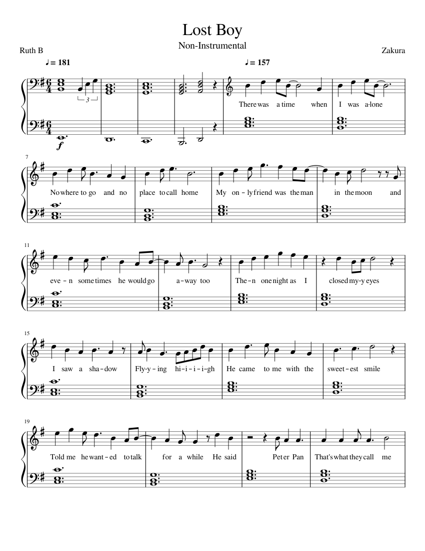 graphic regarding Lost Boy Piano Sheet Music Free Printable named Ruth B - Shed Boy (Non-Instrumental) sheet new music for Piano