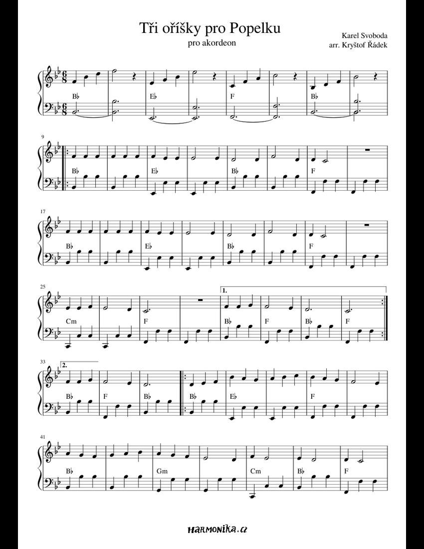 Tři oříšky pro Popelku sheet music for Accordion download