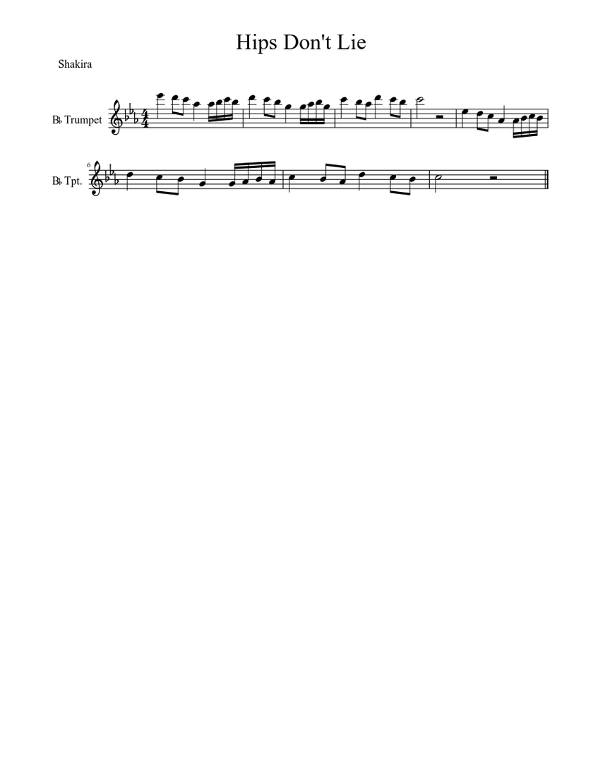 Hips Don't Lie Sheet music for Trumpet (Solo) | Musescore.com