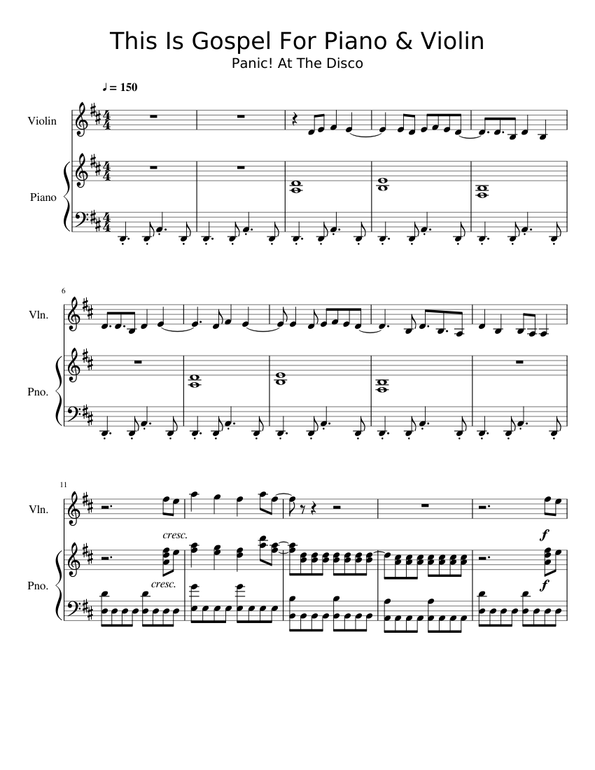 photo about Free Printable Gospel Sheet Music for Piano named This Is Gospel - Nervousness! At The Disco (for piano and violin