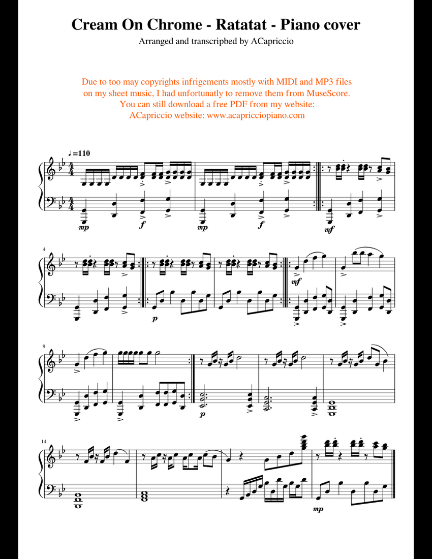 Cream on chrome - Ratatat - Piano cover sheet music for Piano