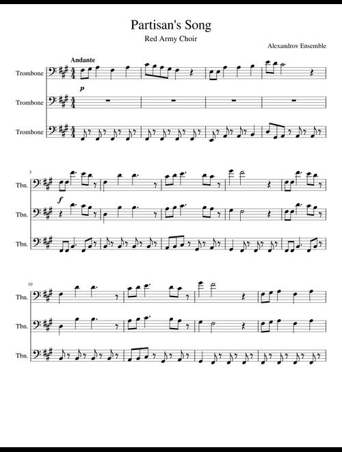 Partisan's Song (Trombone Trio) sheet music for Trombone