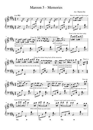 Piano Sheet Music Pop Songs Memories Maroon 5 Piano Sheet Music Pdf