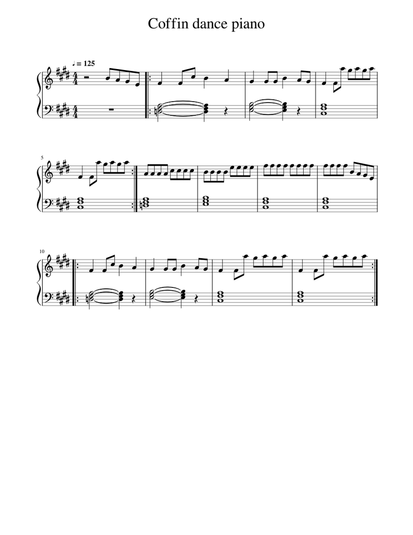 Roblox Music Sheets Copy And Paste Coffin Dance Piano Sheet Music For Piano Solo Musescore Com