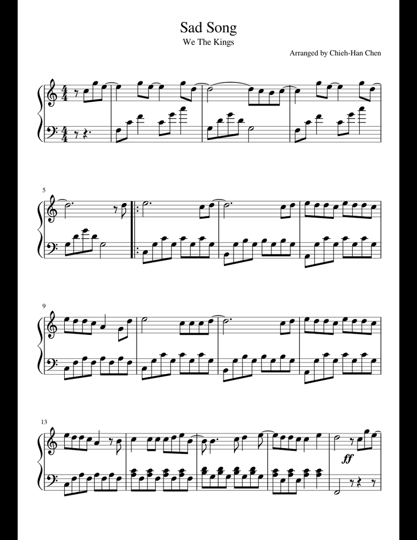 Sad Song We The Kings (easy piano, C Major) sheet music for