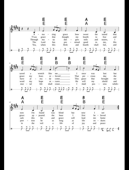 Amazing Grace sheet music download free in PDF or MIDI