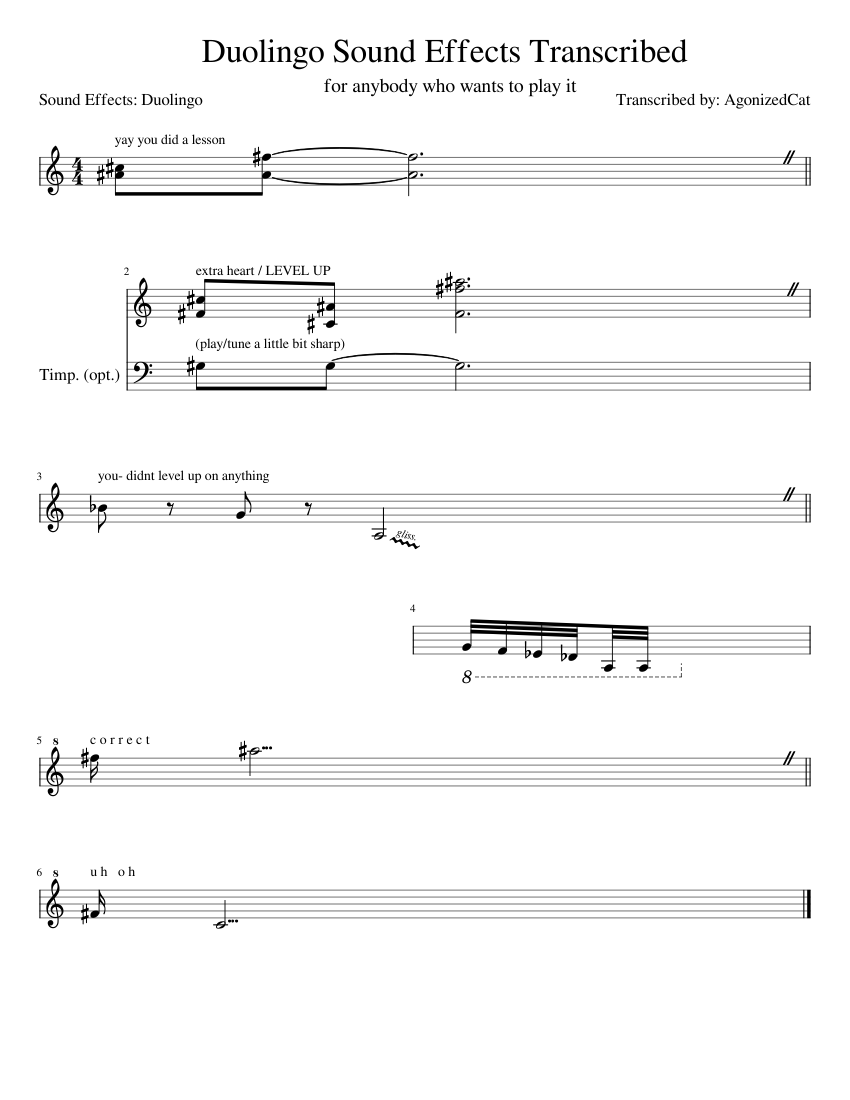 Duolingo Sound Effects Transcribed sheet music for Trumpet