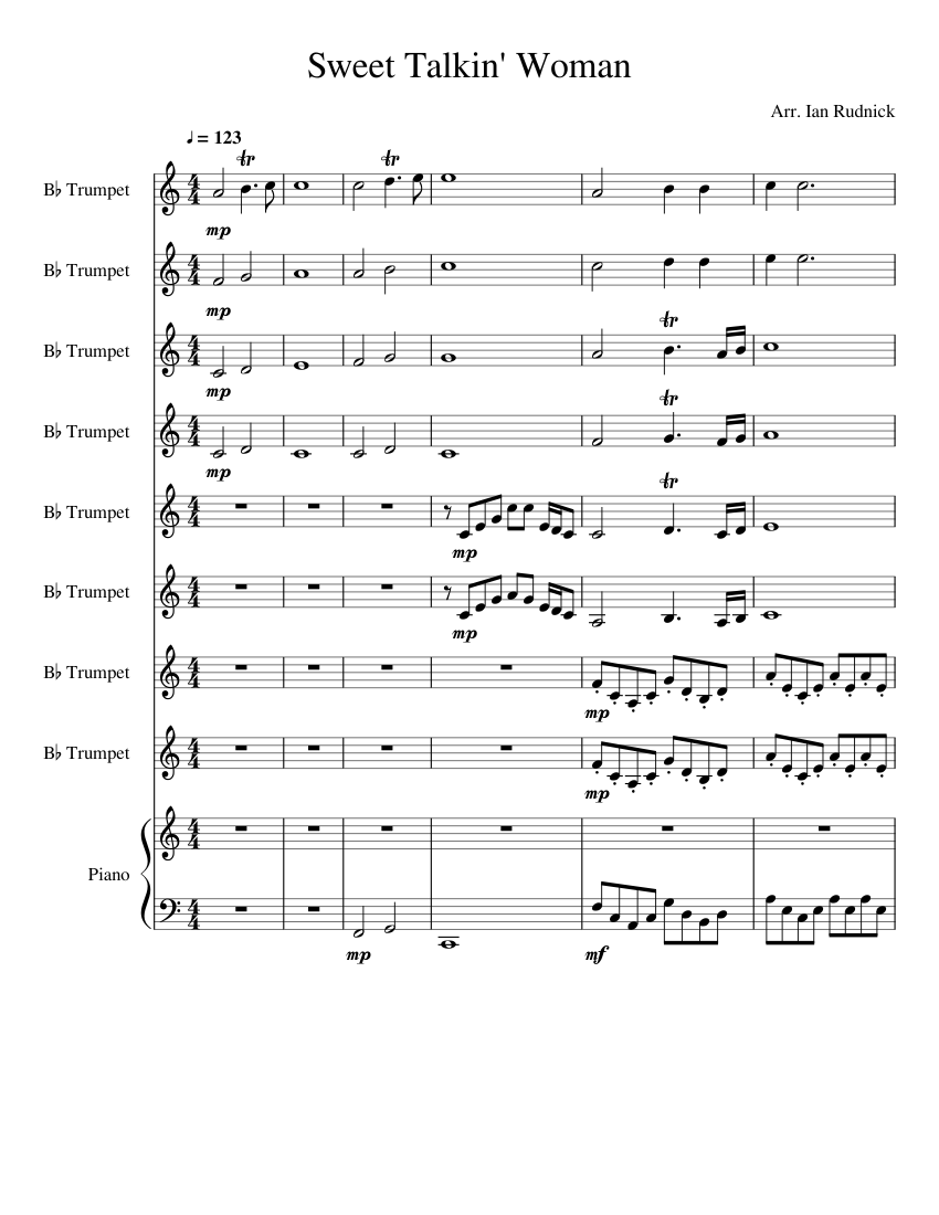 Sweet Talkin Woman For 8 Trumpets Sheet Music For Piano Trumpet In B Flat Mixed Ensemble Musescore Com