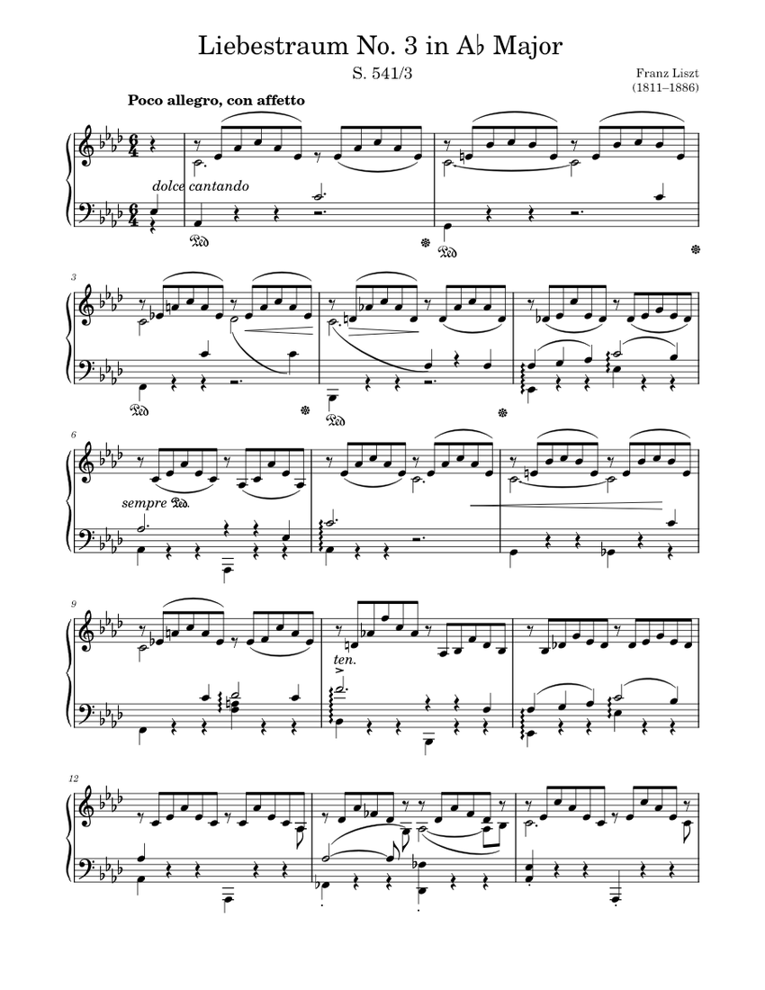 Liebestraum No 3 In A Major Sheet Music For Piano