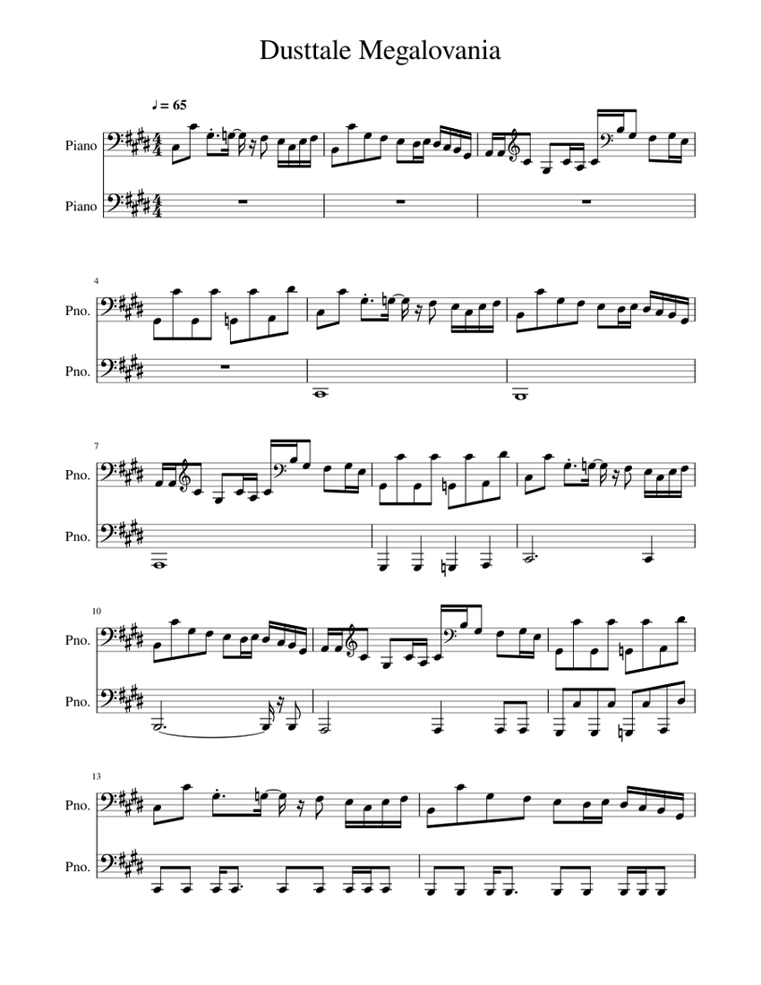 Dusttale Megalovania Sheet Music For Piano Download Free In Pdf