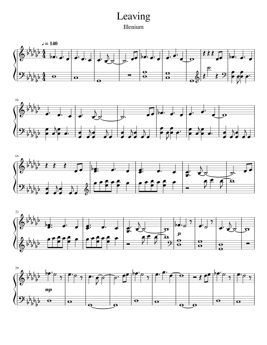 Illenium - Leaving (Instrumental Cover) sheet music for Piano