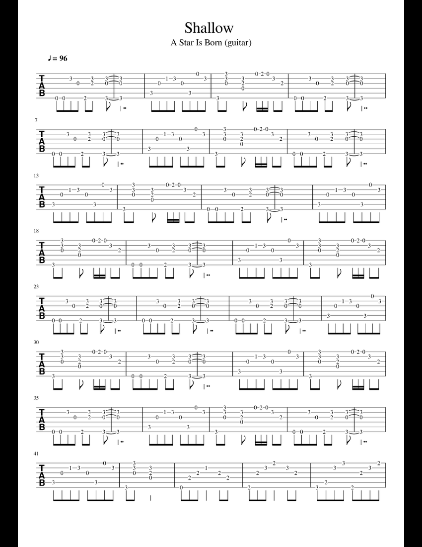 Shallow sheet music for Guitar download free in PDF or MIDI