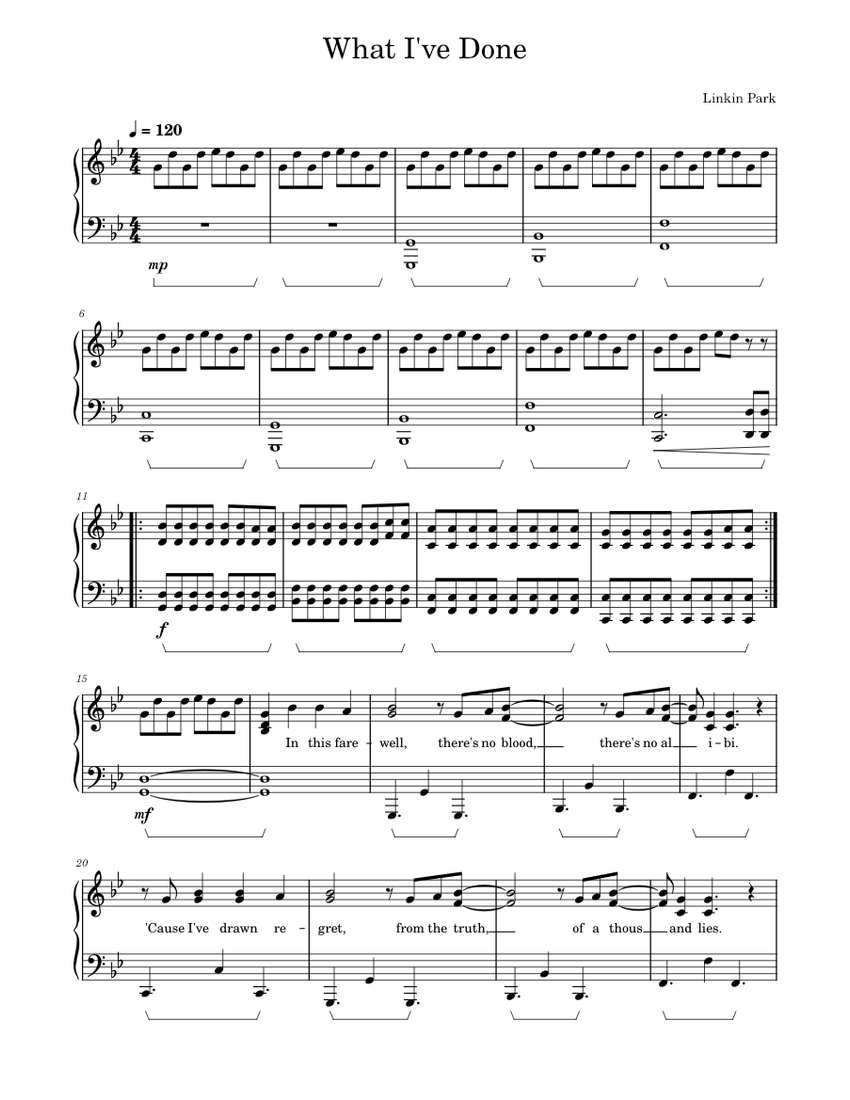 What I Ve Done Linkin Park Piano Sheet Music For Piano Solo Musescore Com