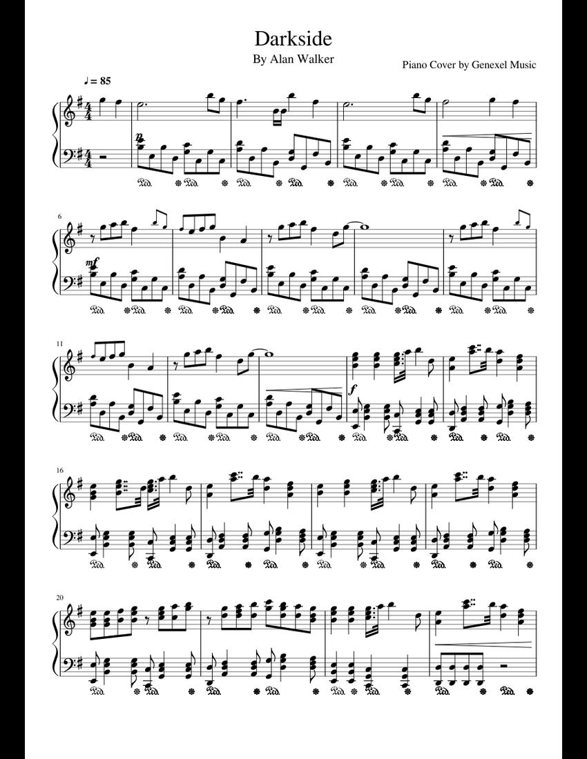 Darkside - Alan Walker Piano Cover sheet music for Piano download