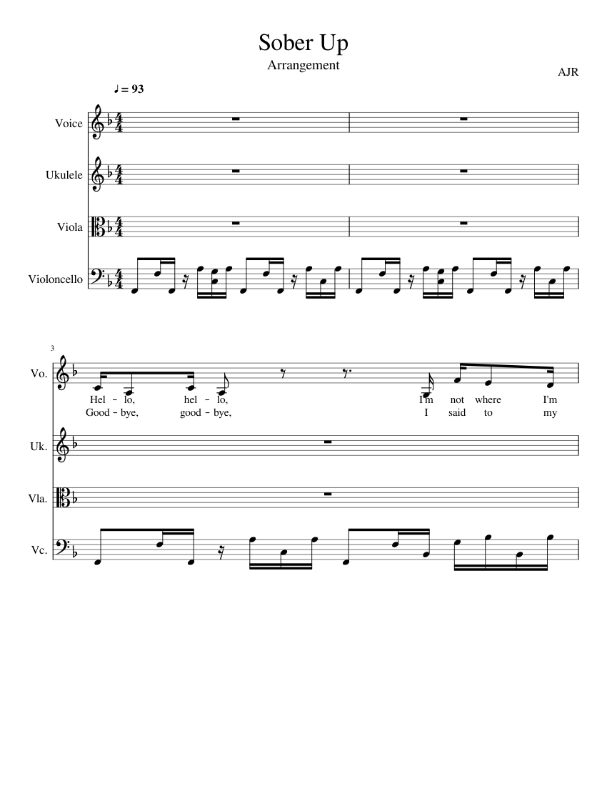 Sober Up sheet music for Voice, Guitar, Viola, Cello download free