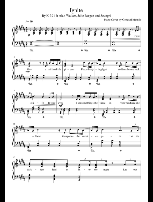 Ignite - K391 Piano sheet music for Piano download free in